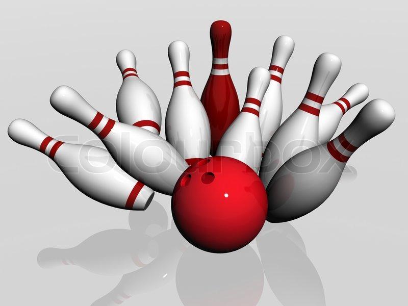 Bowlingkugle styrter ned i benene | stock foto | Colourbox
