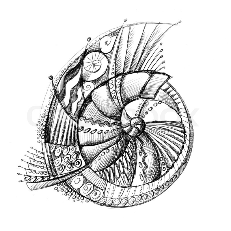 Abstract unusual pencil drawing spiral shell | Stock Photo | Colourbox