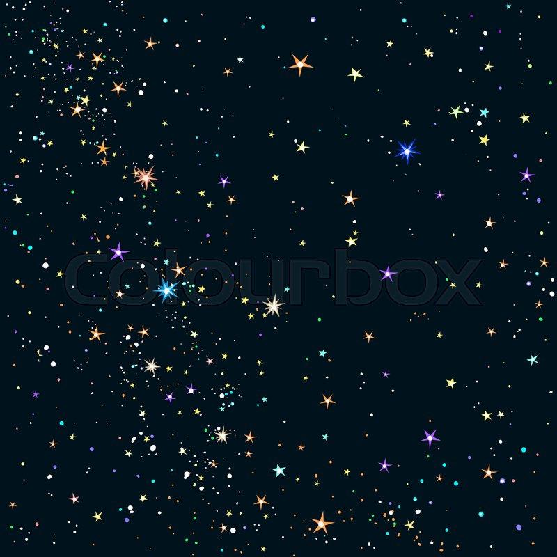 Starry night sky background  Shining     | Stock vector | Colourbox