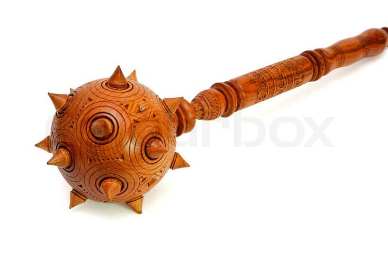 Wooden Spiky Souvenir Mace Isolated On White Stock Photo