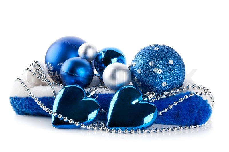 blue christmas balls isolated on a white background stock photo colourbox - Blue And Silver Christmas Ornaments