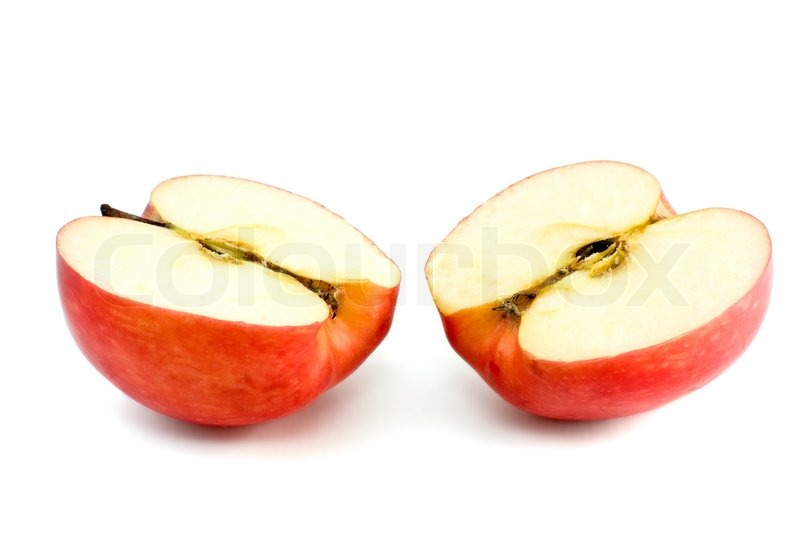 Two red apple halves isolated on the white background ...