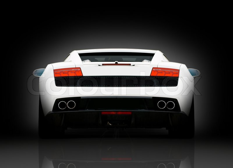 Rear View Of White Supercar On Black Background With Reflection In