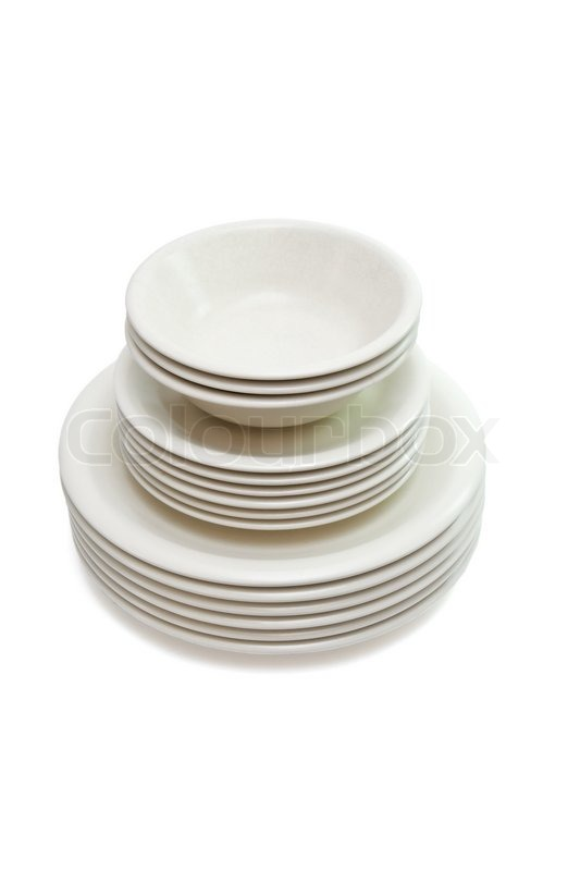 Stack of plain beige dinner plates soup plates and saucers isolated | Stock Photo | Colourbox  sc 1 st  Colourbox & Stack of plain beige dinner plates soup plates and saucers isolated ...