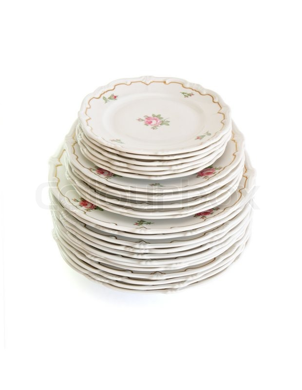 High stack of white dinner plates and saucers with flowers and wavy rim isolated | Stock Photo | Colourbox  sc 1 st  Colourbox & High stack of white dinner plates and saucers with flowers and wavy ...