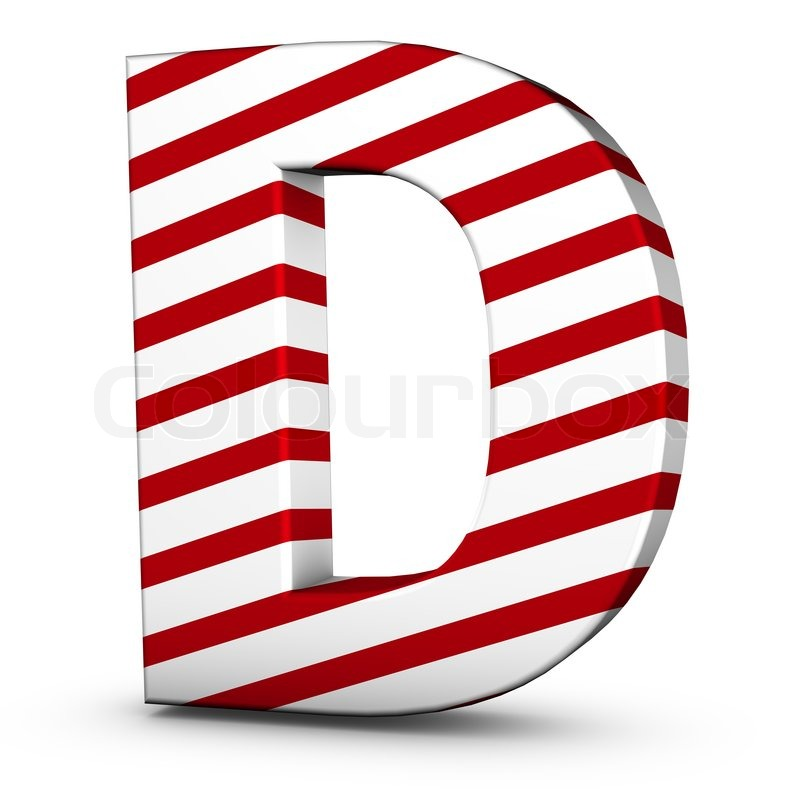 Candy cane letter D isolate on white  | Stock image | Colourbox