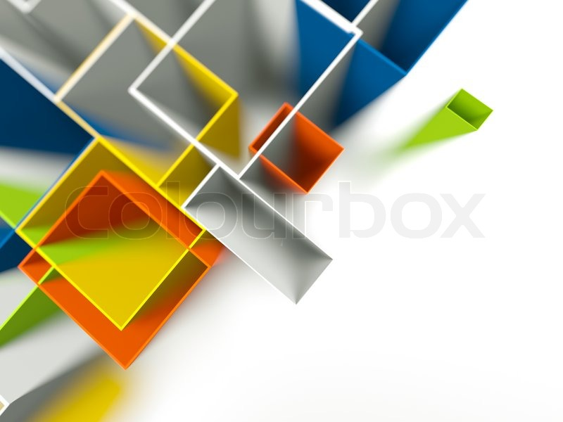 Colored Background Of 3d Geometric Shapes Stock Photo