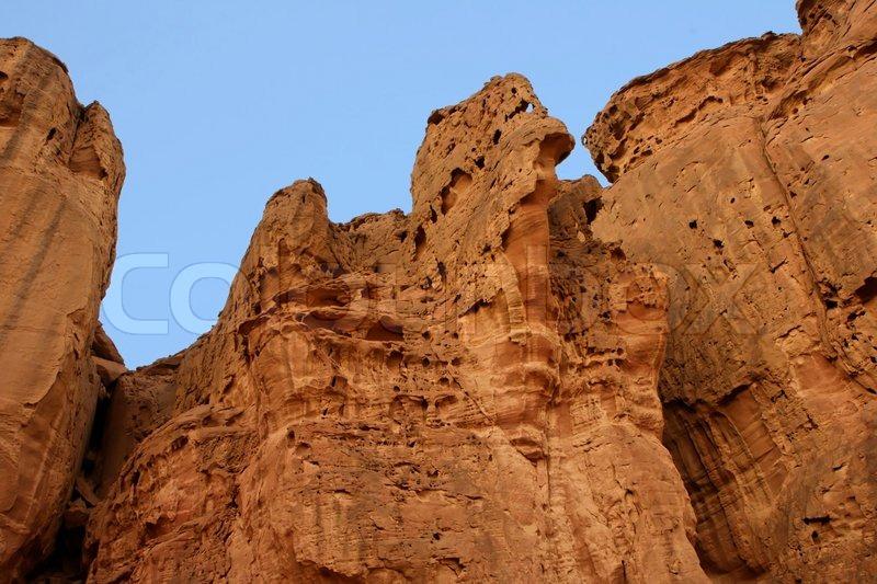 Desert Rock Pillars : Picturesque orange weathered rocks of solomon pillars in
