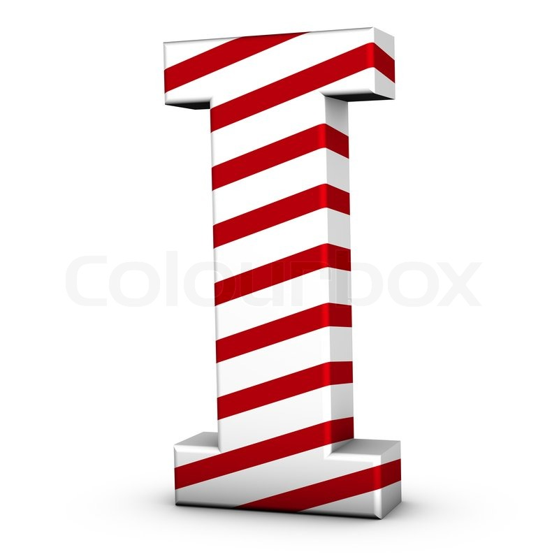 Candy Cane Letter I Isolate On White Background