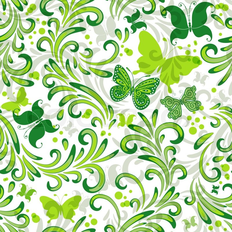White Repeating Floral Pattern With Green Curls And Butterflies Classy Green Pattern