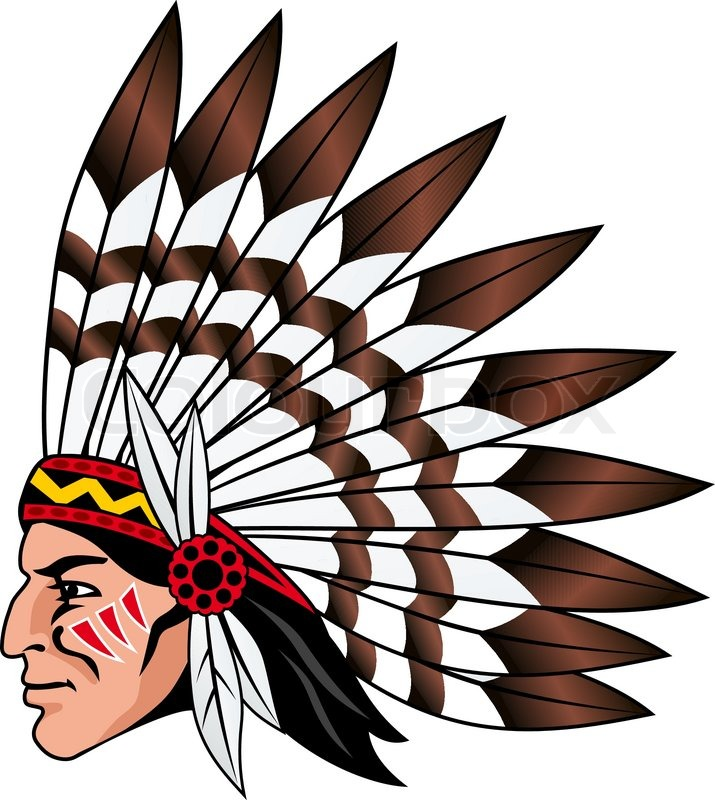 native american people with feathers on the head for mascot and rh colourbox com indian head silhouette clip art indian head massage clipart