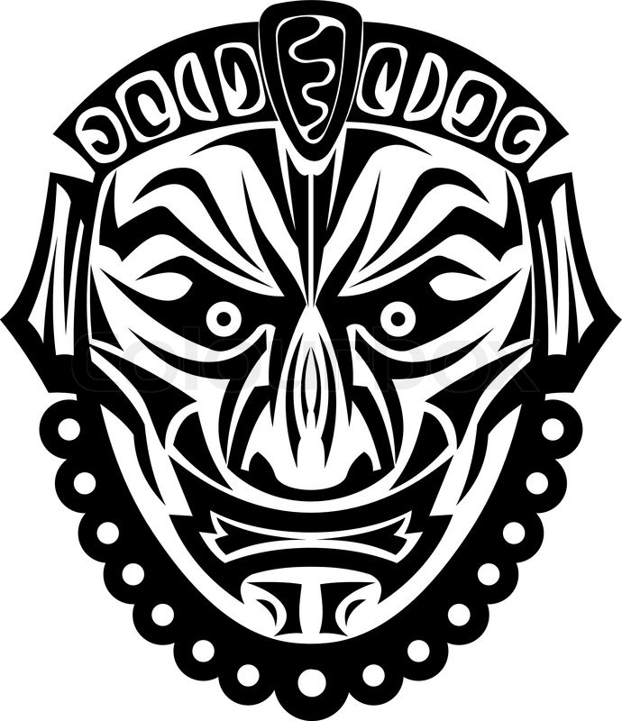 Ancient tribal black mask isolated on white background Vector ...