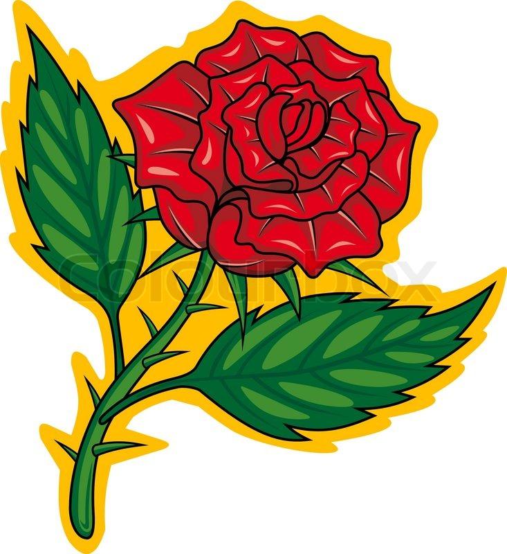 Rote Rose Im Cartoon Stil Für Stock Vektor Colourbox