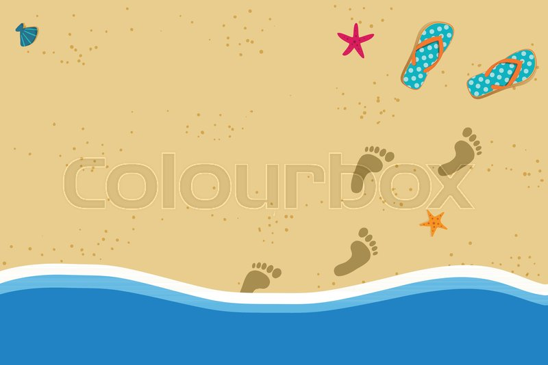 Summer vacation vector photo border frame with pair of flip flops ...