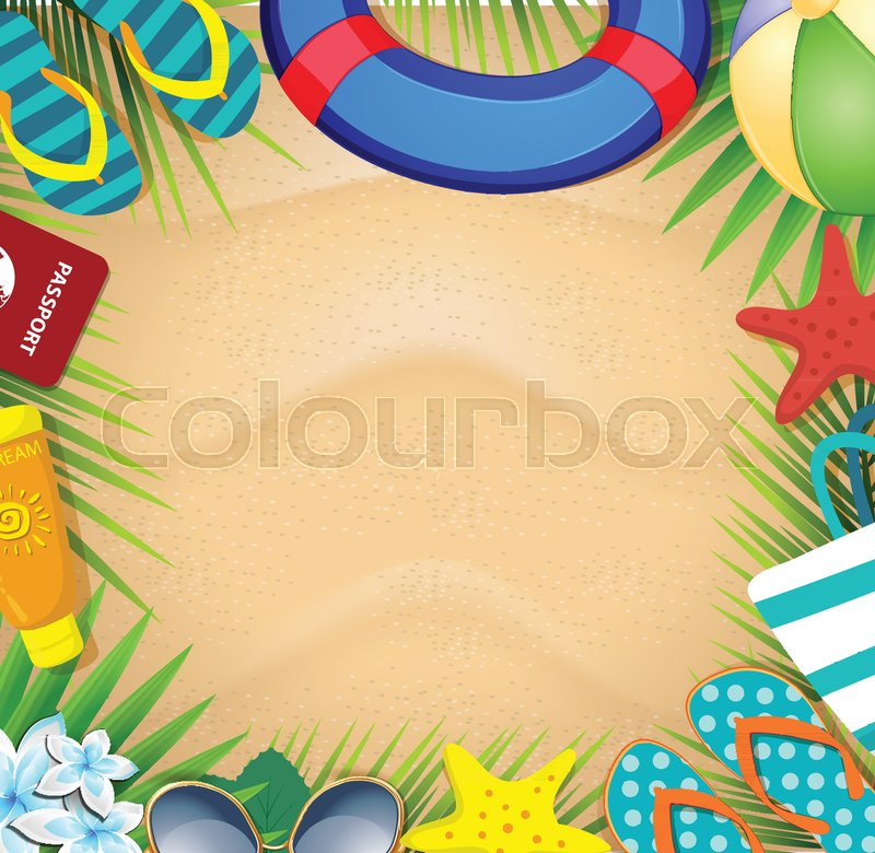 Top view of summer holidays border frame template with copy space ...