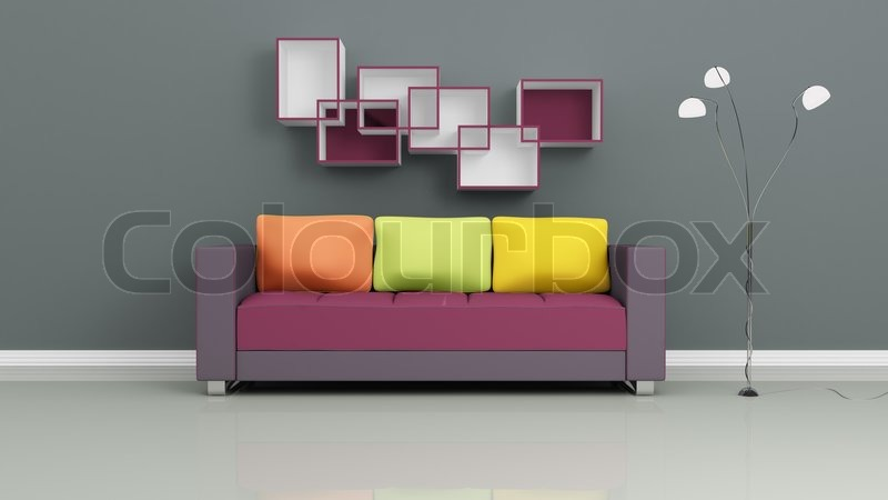 Purple Sofa With Colorful Pillows, Chromed Lamp And Shelves On Grey Wall  Modern Interior Composition, Stock Photo