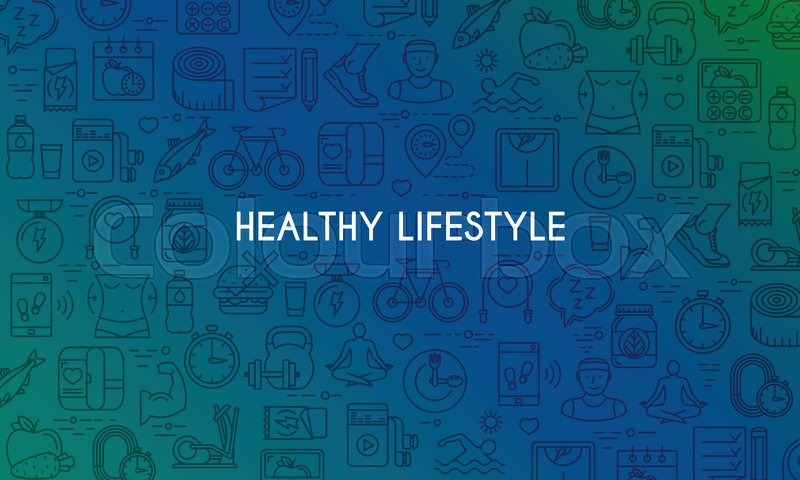 Healthy Lifestyle Banner Design Stock Vector Colourbox