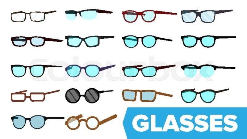 1b6fb0b92fa Glasses Set Vector. Modern Glasses ...