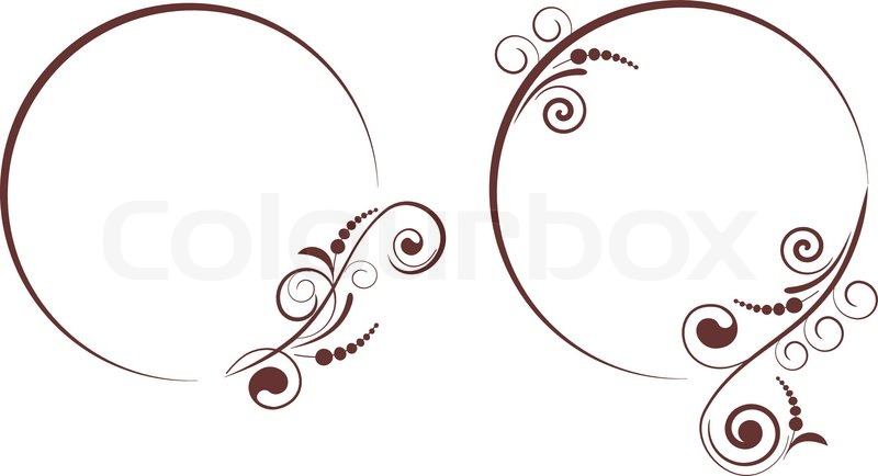 Round frame with decorative branch. Vector illustration. | Stock ...