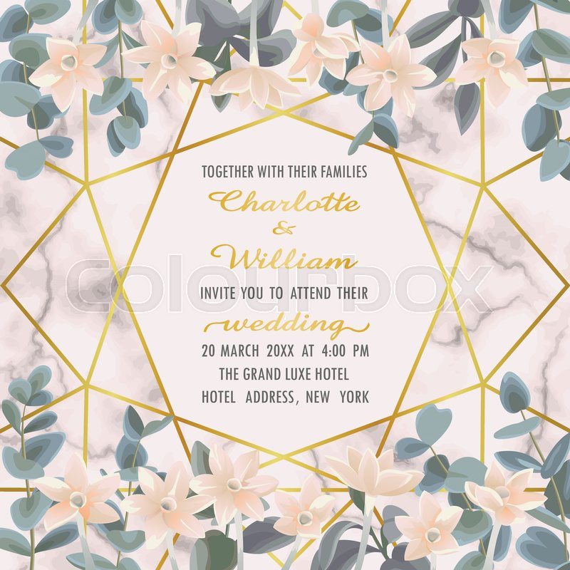 Wedding Invitation Floral Card With ...