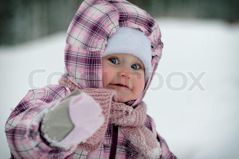 c51e2ecb8 closer at 57bed 346ea adorable toddler baby girl in a magenta snow ...