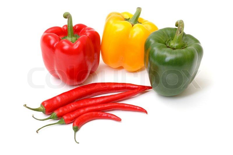 chili pepper and paprika on white background stock photo colourbox