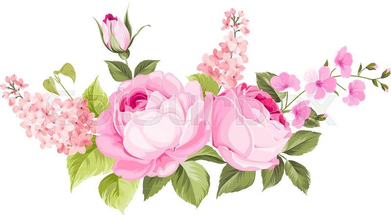 Blooming spring flowers garland of purple roses sakura and lilac blooming spring flowers garland of purple roses sakura and lilac label with rose and sacura flowers vector mightylinksfo