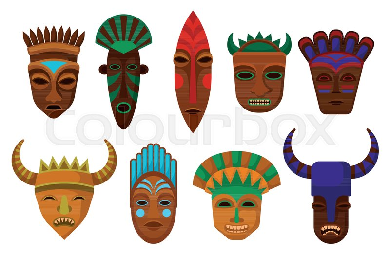Flat Vector Set Of Ethnic Wooden Masks Ritual Attributes Symbols