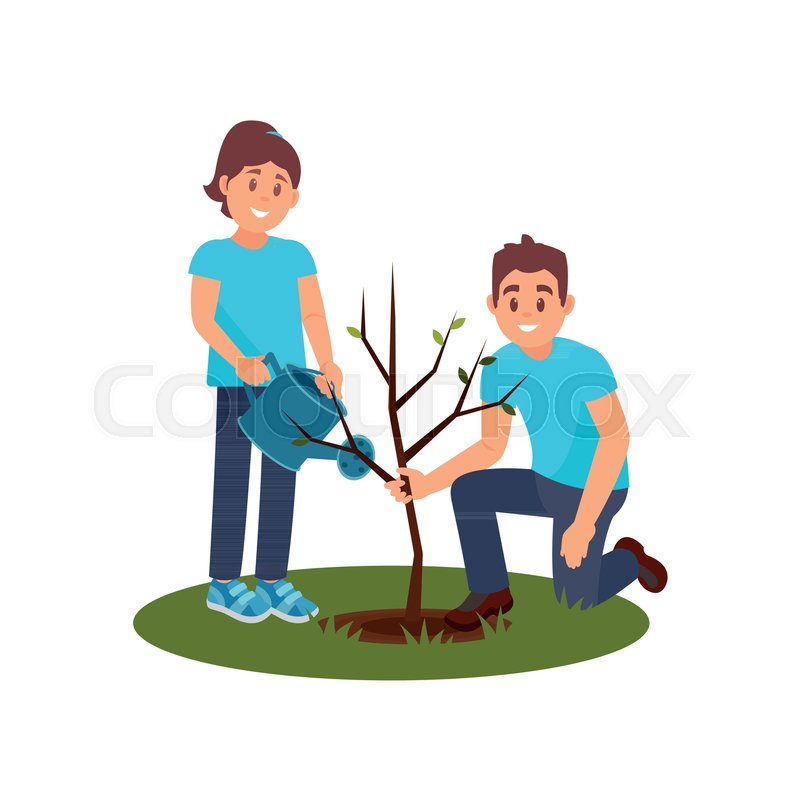 Two Smiling Volunteers Planting Tree Stock Vector Colourbox Man and children plant a tree and watering vector image. two smiling volunteers planting tree