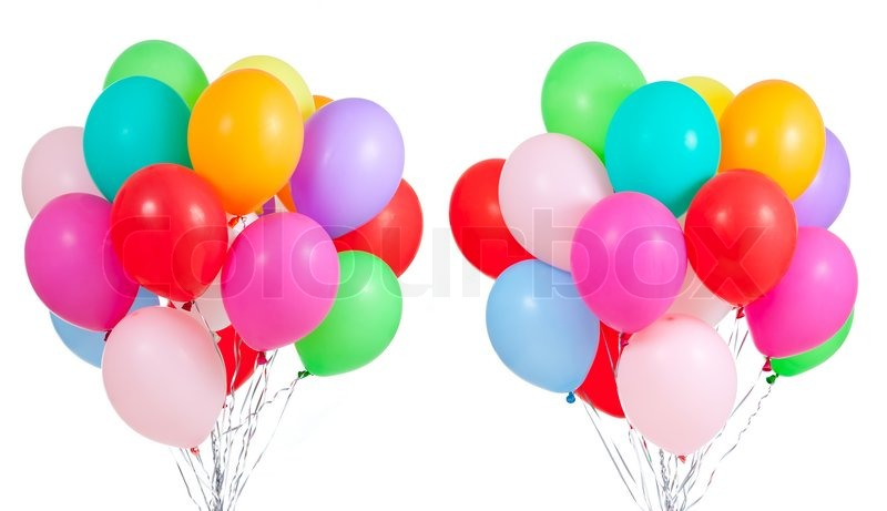 Colorful balloons on white background | Stock Photo ...