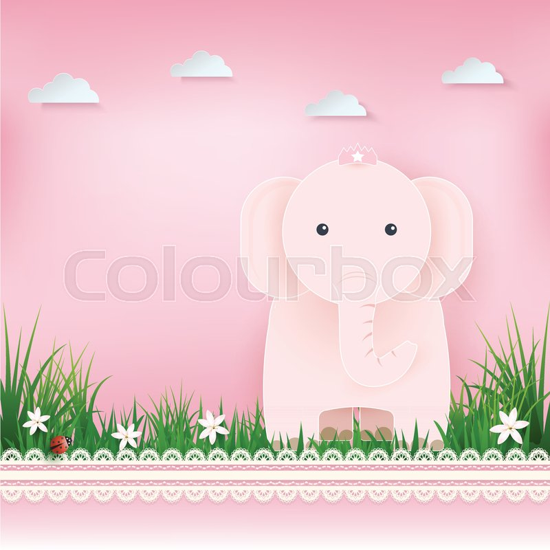 Pink Elephant In Field And Cloud Greeting Card Happy Birthday Card