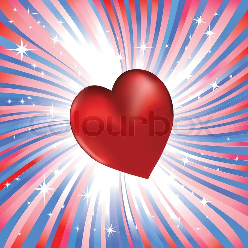 Abstract red heart like love to usa | Stock Vector