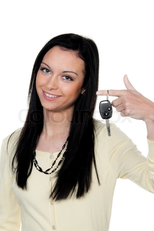 Woman With Car Keys After Driving Test Stock Photo