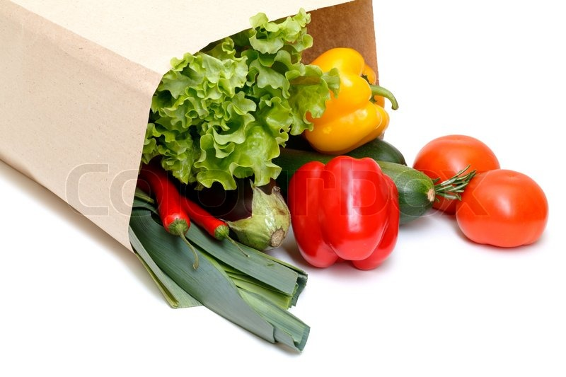 Grocery Bag Full Of Vegetables Stock Photo Colourbox
