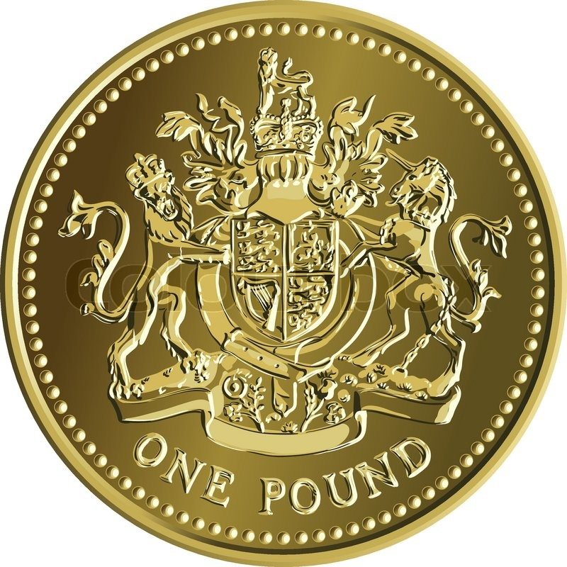 Vector British Money Pound Gold Coin With The Emblem Stock Vector
