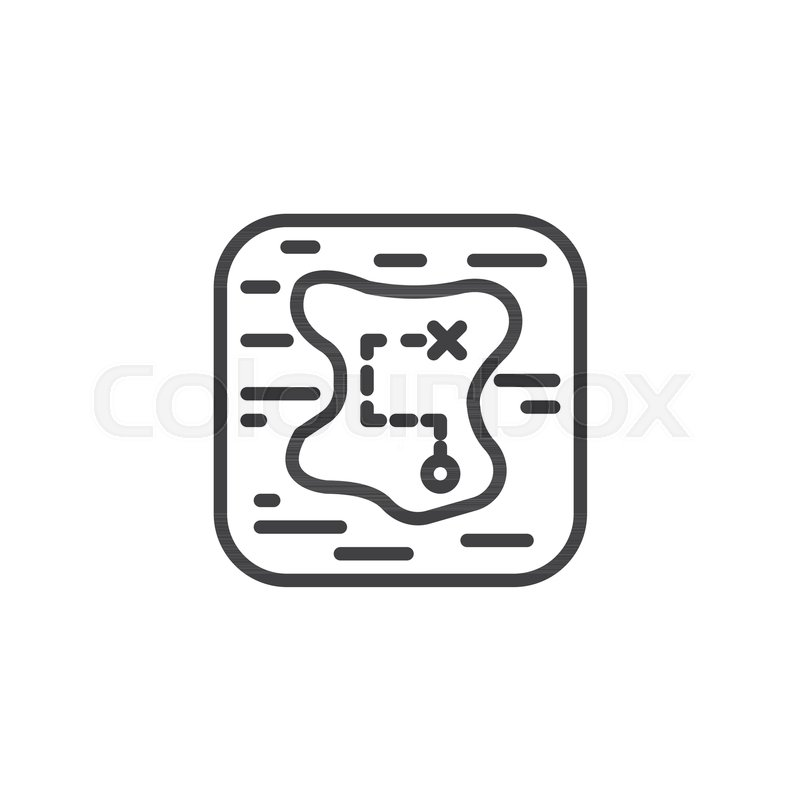 Treasure Map Outline Icon Linear Style Sign For Mobile Concept And