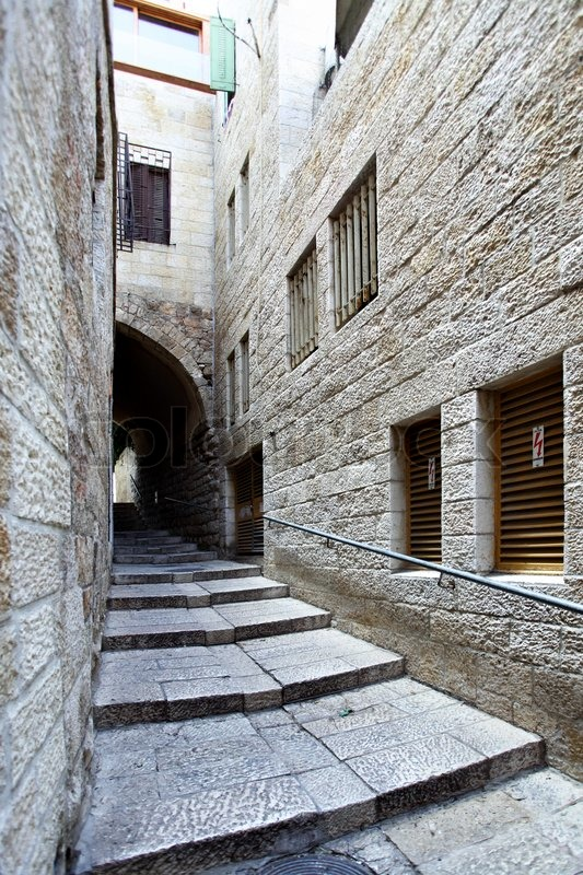 Narrow Side Street At Old City Of Jerusalem Israel