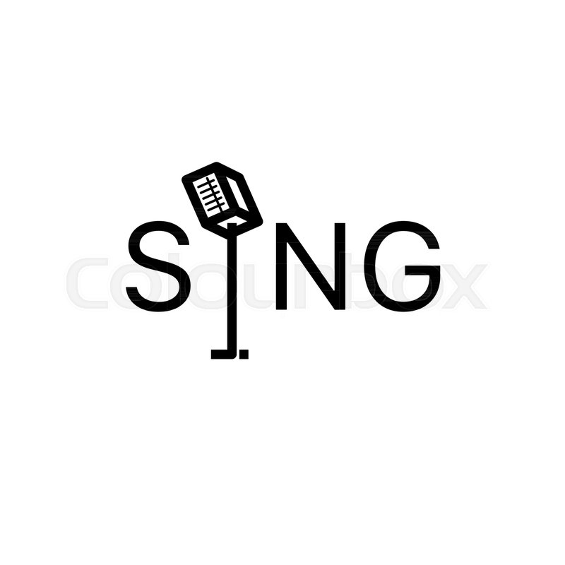 word sing microphone in the form of a letter i vector