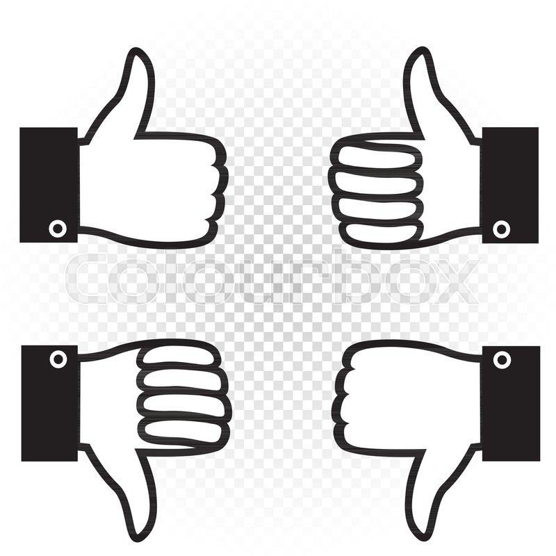 Like And Dislike Symbol Icon Set Black Hand Palm With Raised Upward