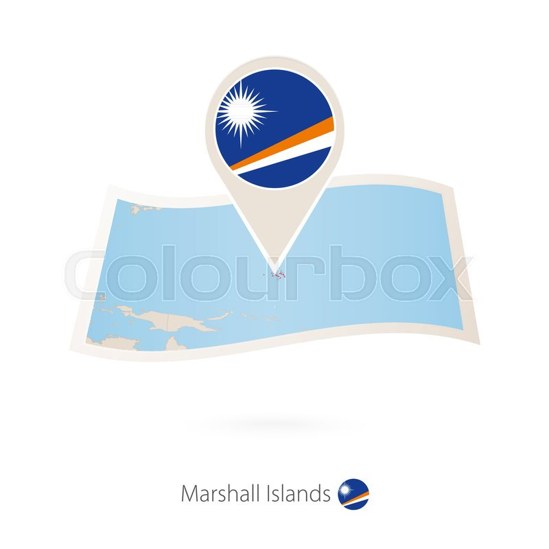 Folded paper map of Marshall Islands ... | Stock vector ...