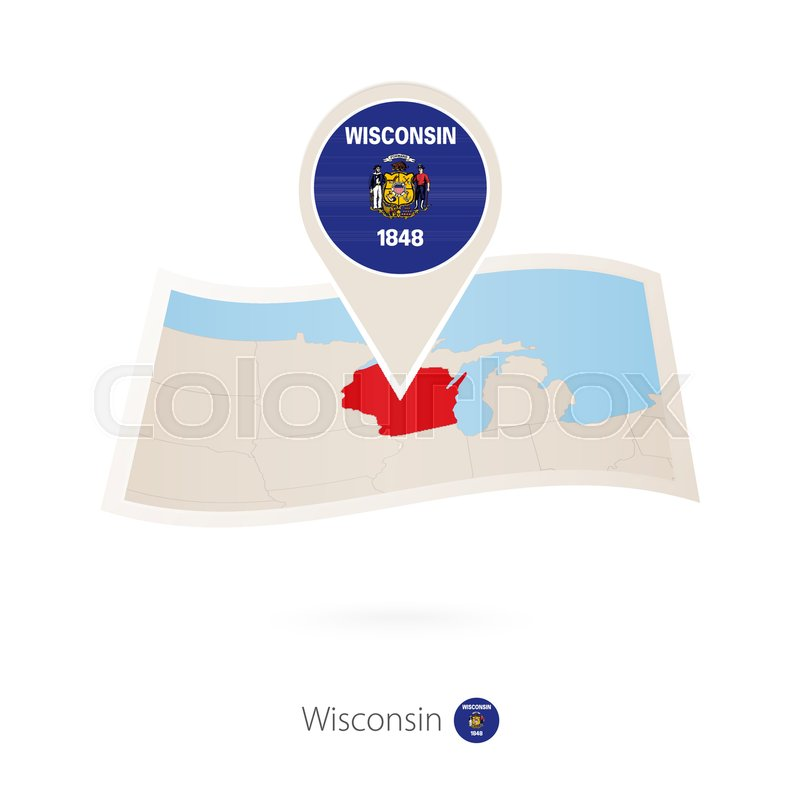 Folded paper map of Wisconsin U.S. ... | Stock vector ...