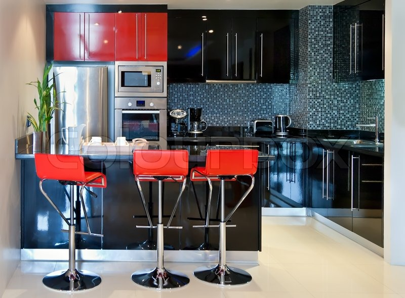 The Kitchen Chairs With Red And Black Furniture Stock Photo Colourbox
