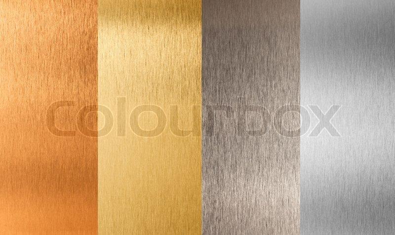 Gold silver bronze nonferrous metal set, stock photo