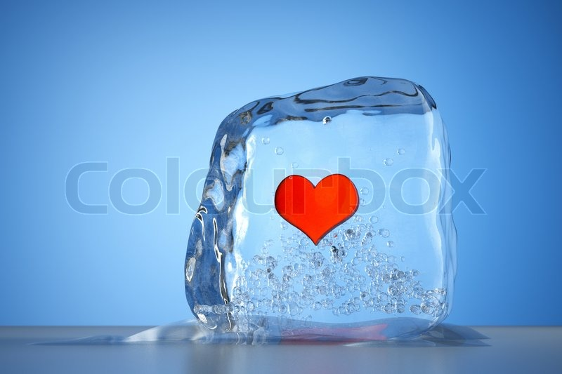 Nice A Frozen Red Heart As A Simbol Of Frozen Love, Ice Cubes With Heart, A  Defrosting Process | Stock Photo | Colourbox