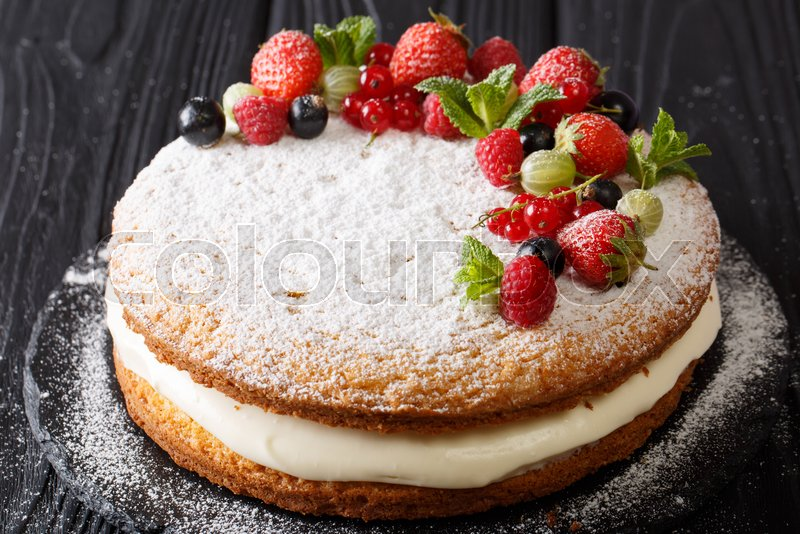 Victoria Sandwich Cake Decorated With Stock Image