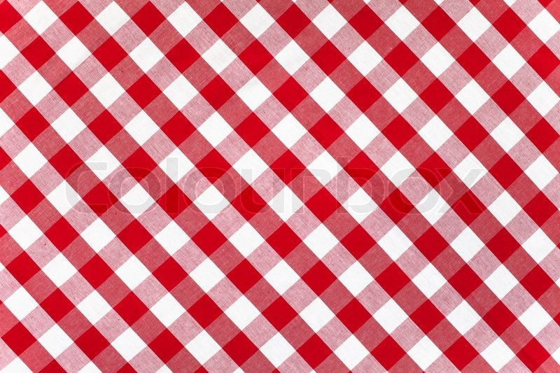Red checked fabric tablecloth, stock photo