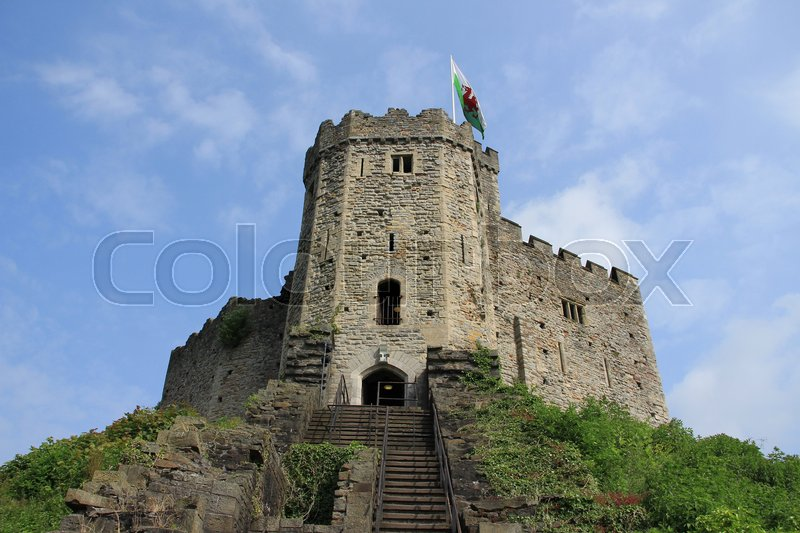 Blue sky with clouds and stairway to the entrance of Cardiff Castle in the city Wales on a sunny day in spring, stock photo