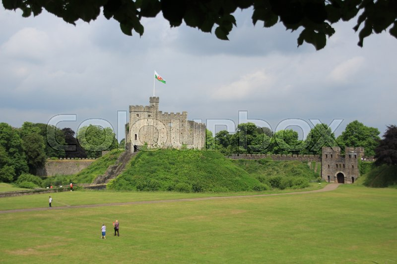 Blue sky with clouds and a view over Cardiff Castle in the city Cardiff in Wales on a sunny day in spring, stock photo