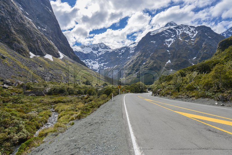 Landscape of road in the valley New Zealand, stock photo
