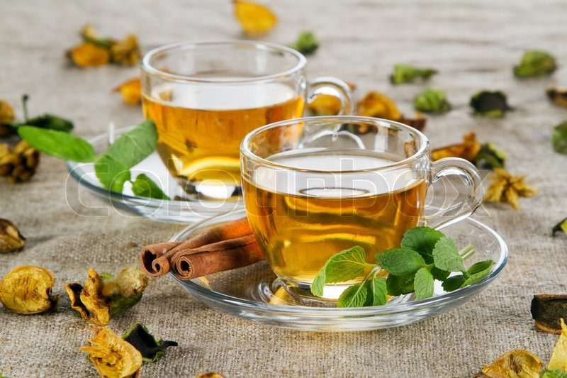 Tea cup with fresh mint leaves, closeup photo  Stock ...